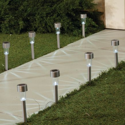 Silver Solar Light Stakes with White Lights, Set of 10-360654