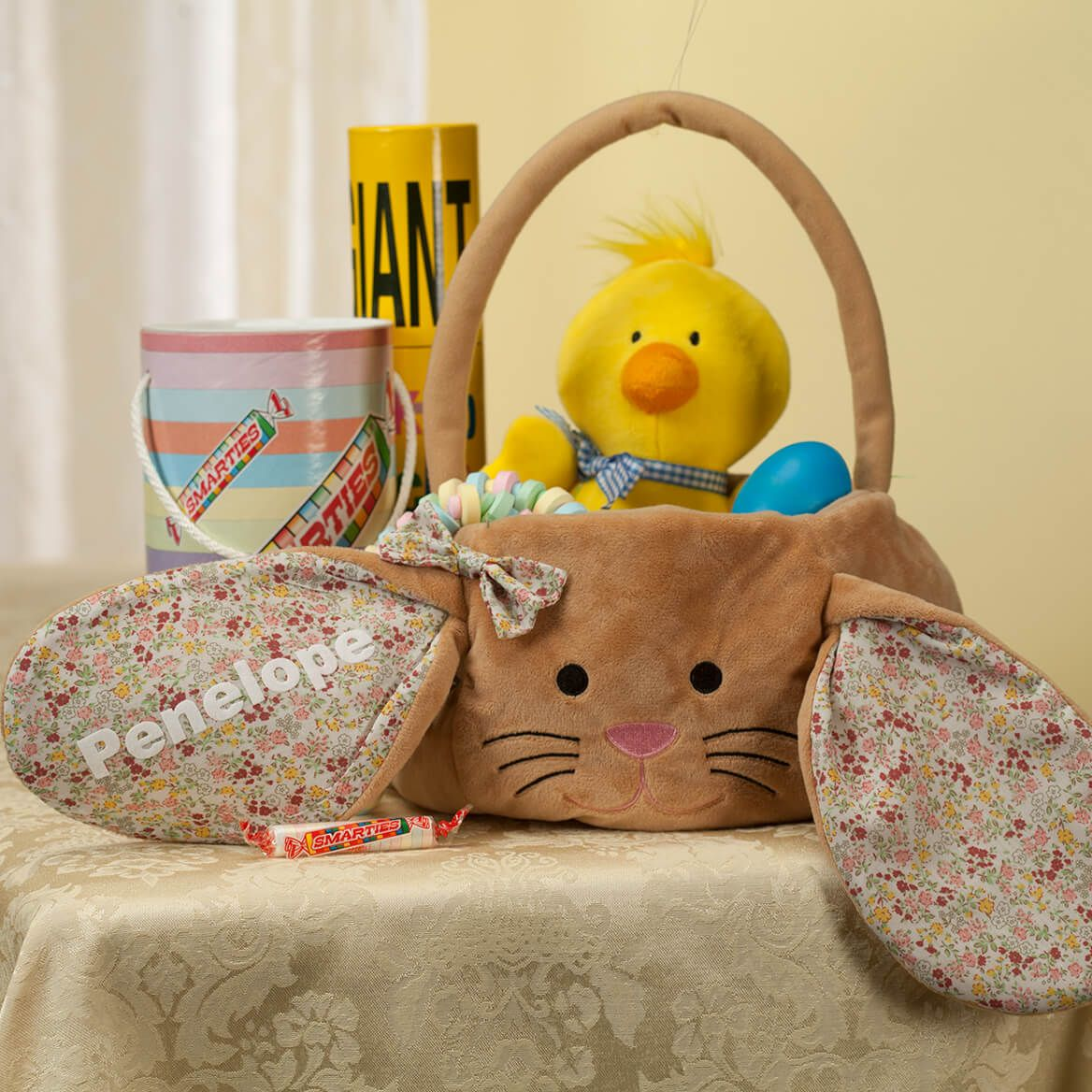 Personalized Brown Bunny Floral Easter Basket-361691