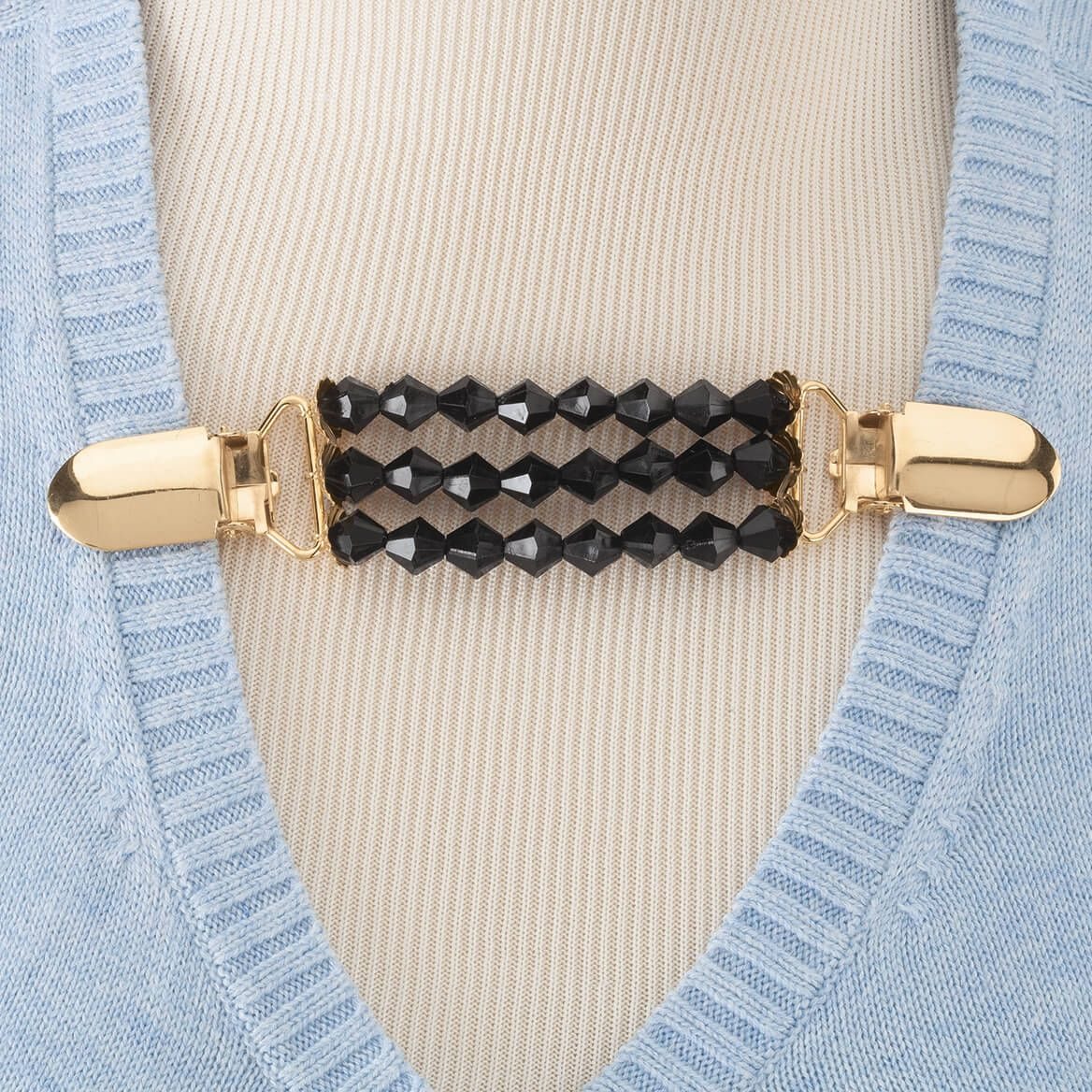 Black Beaded Sweater Clip-362017
