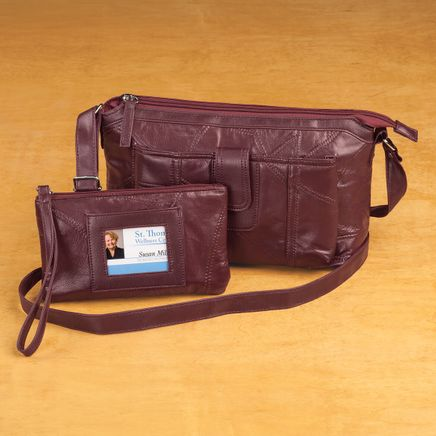 Patch Leather Crossbody Handbag and Wristlet Set-362324