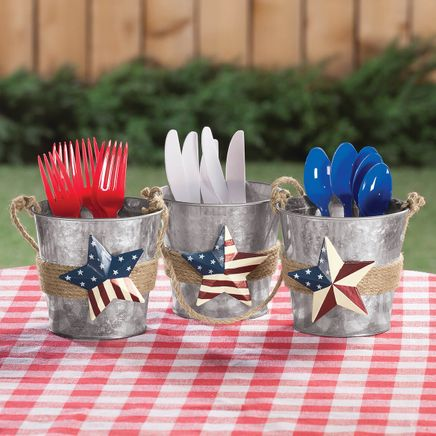 Metal Barn Star Buckets, Set of 3 by Fox River Creations™-362882