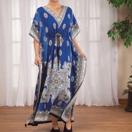 Blue Mosaic Drawstring Caftan-363545