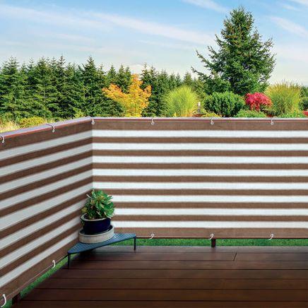 Brown/White Striped Deck Privacy Screen-364576