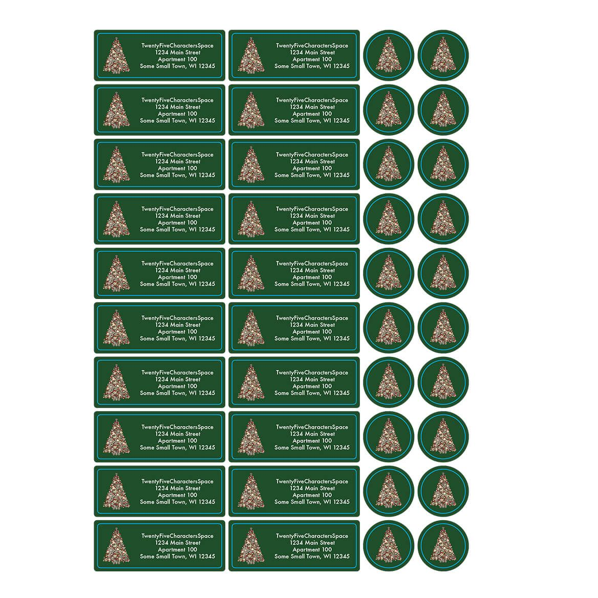 Personalized Glittering Tree Address Labels &  Envelope Seals 20-364772