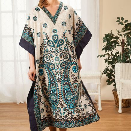 Ivory and Blue Medallion Caftan by Sawyer Creek-365950