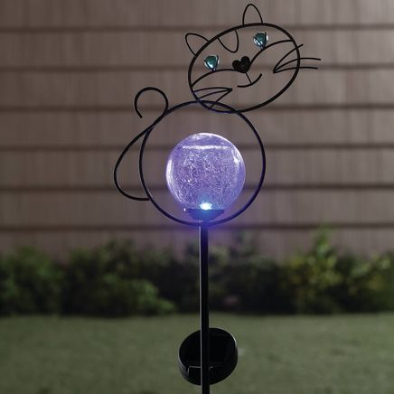 Solar Color-Changing Cat Globe Yard Stake-365979