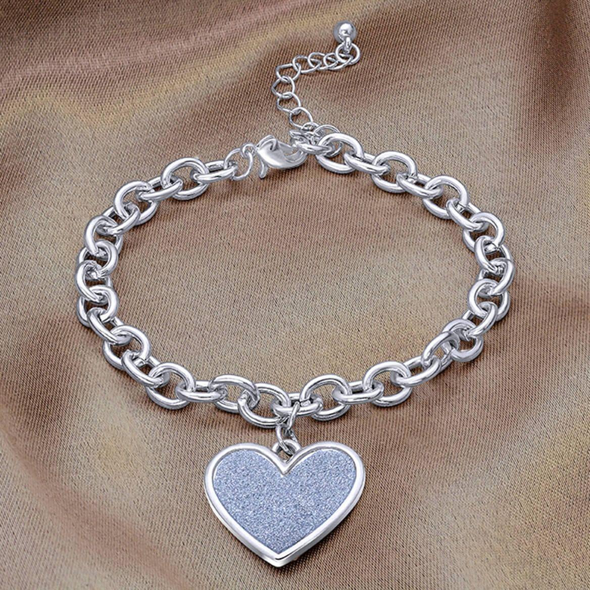 Diamond Dust Heart Charm Bracelet-366313