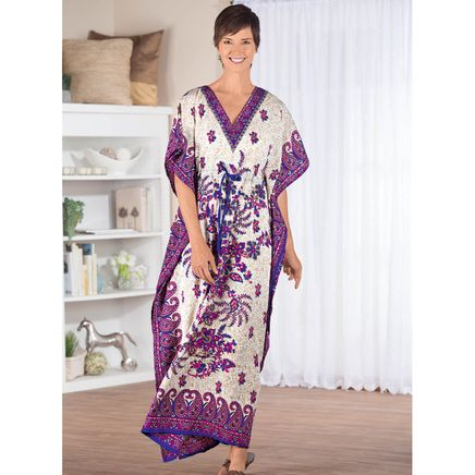 Royal Orchid Border Print Caftan by Sawyer Creek-366361