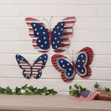 Metal Patriotic Butterfly Plaques Set of 3 by Fox River Creations-366382
