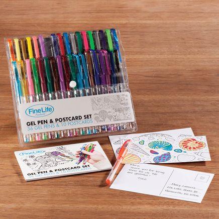 36 Gel Pens and 10 Postcard Set-366623