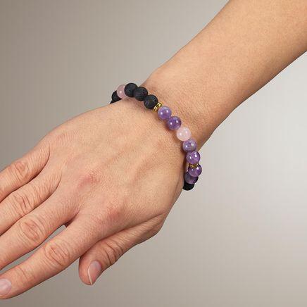 Amethyst Rose Quartz and Lava Beads Stretch Bracelet-367657