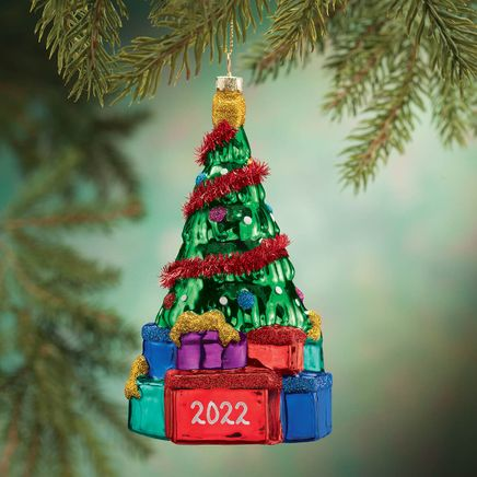 Personalized Glass Tree with Gifts Ornament-367958
