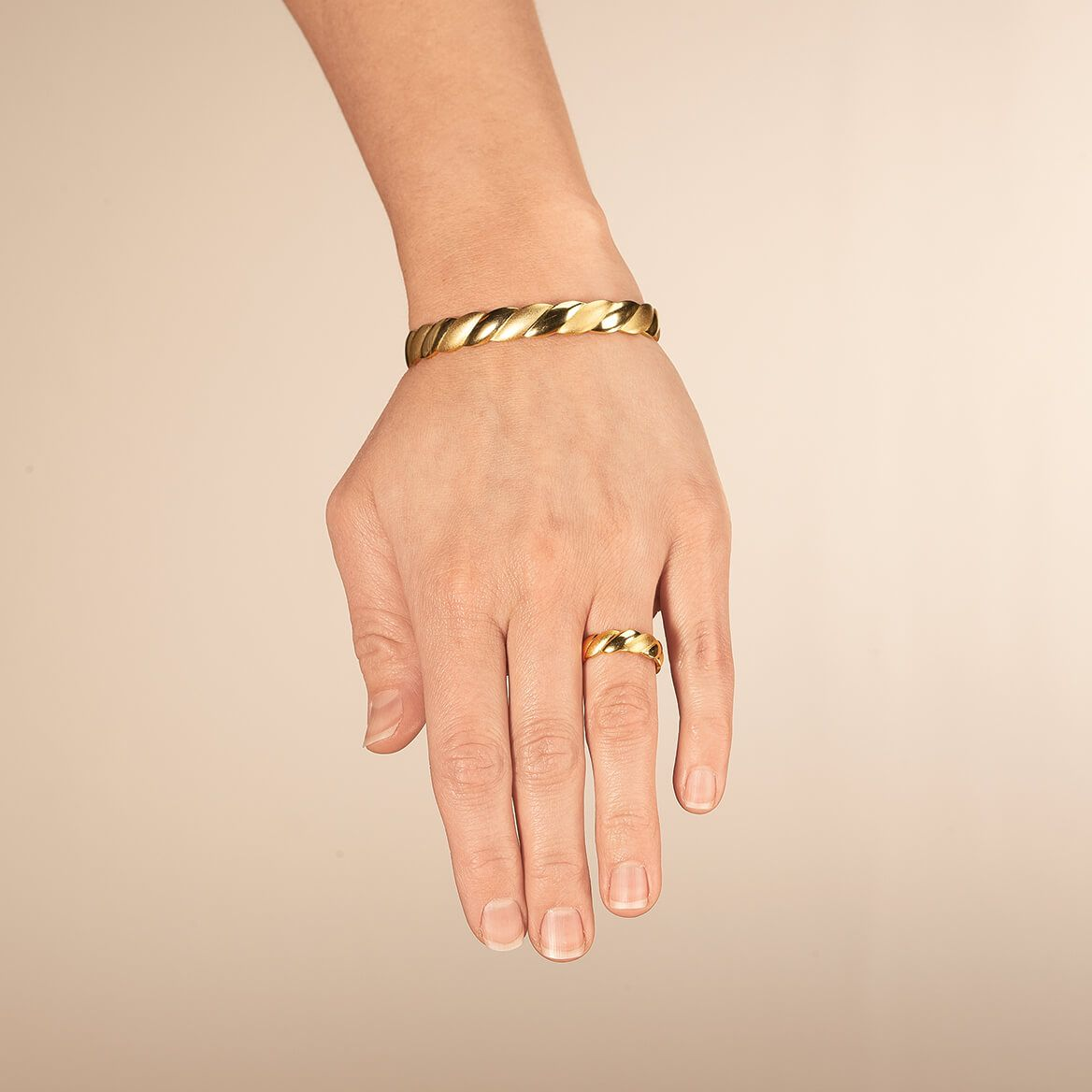 Magnetic Goldtone Swirl Bracelet and Ring Set-367965
