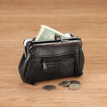 Dual Clasp Coin Pouch with Zippered Pockets-367976