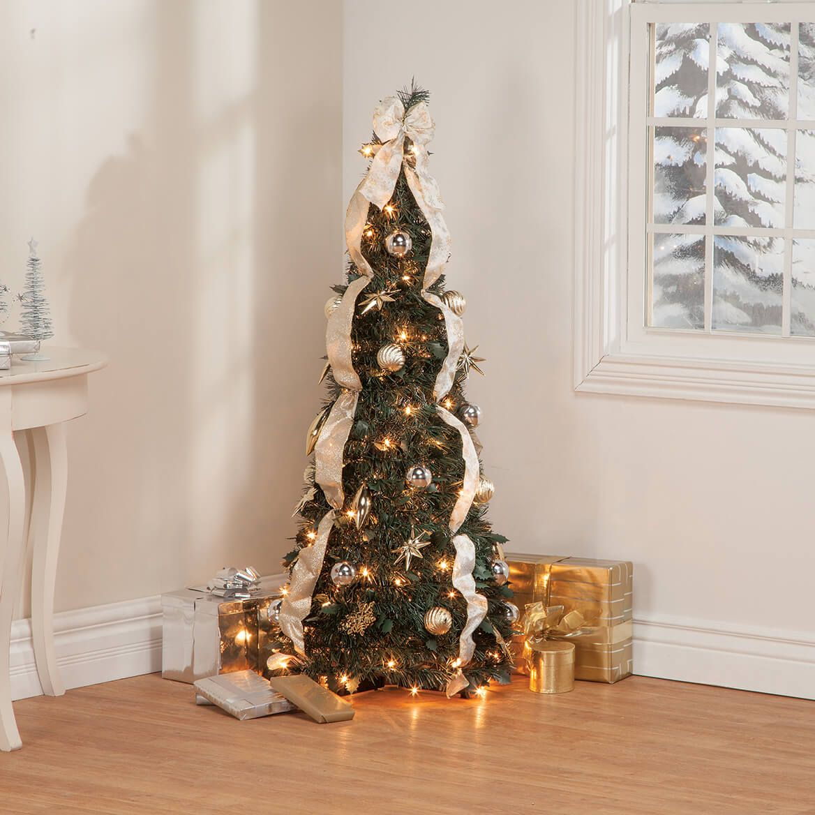 4' Silver & Gold Pull-Up Tree by Holiday Peak™     XL-368086