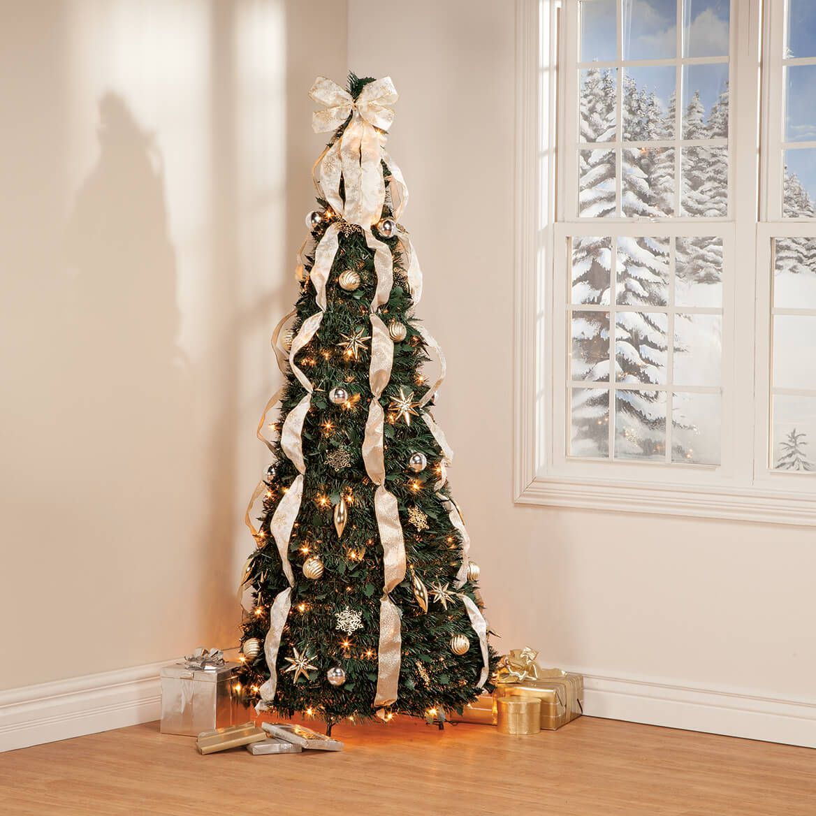 6' Silver & Gold Pull-Up Tree by Holiday Peak™     XL-368087