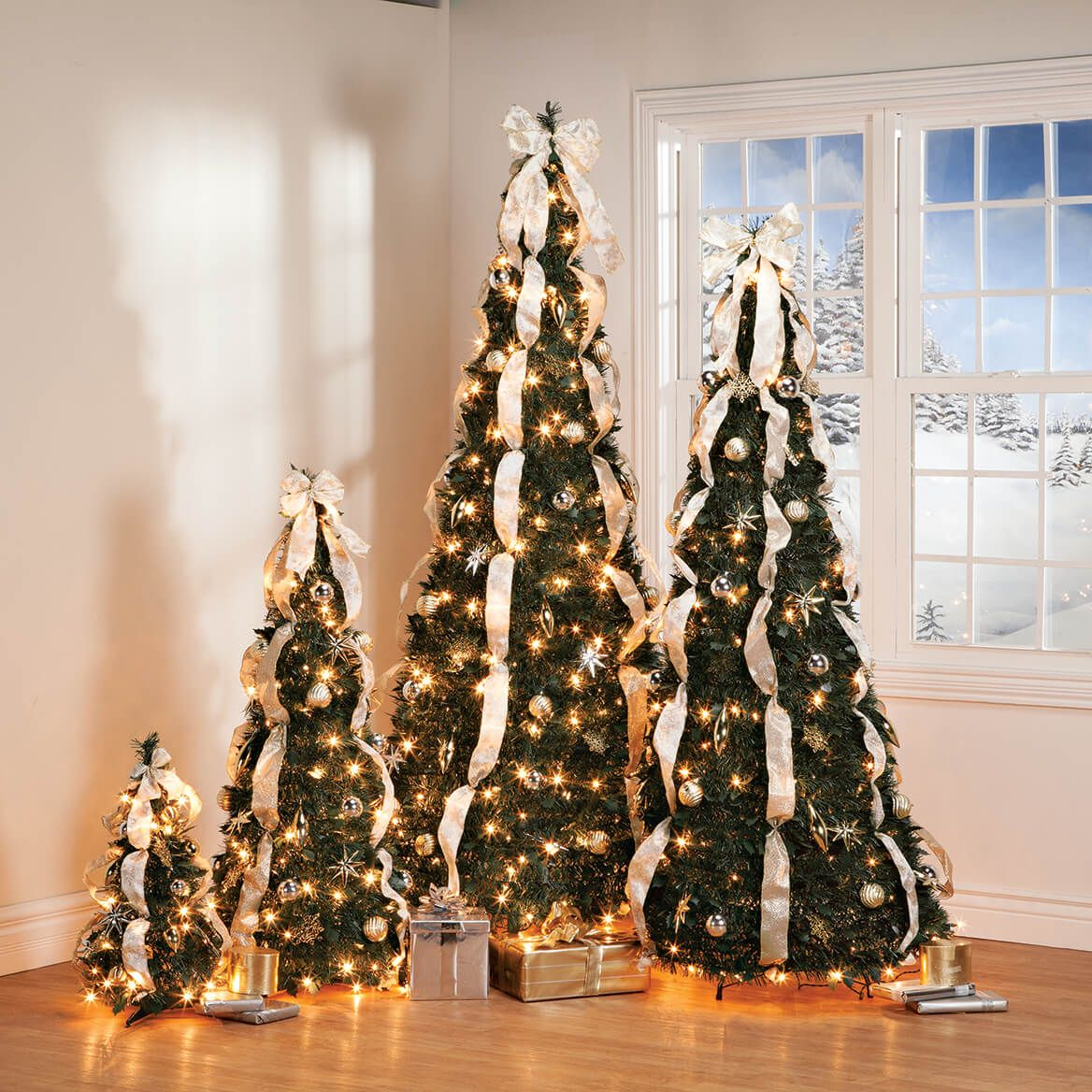 7' Silver & Gold Pull-Up Tree by Holiday Peak™        XL-368088