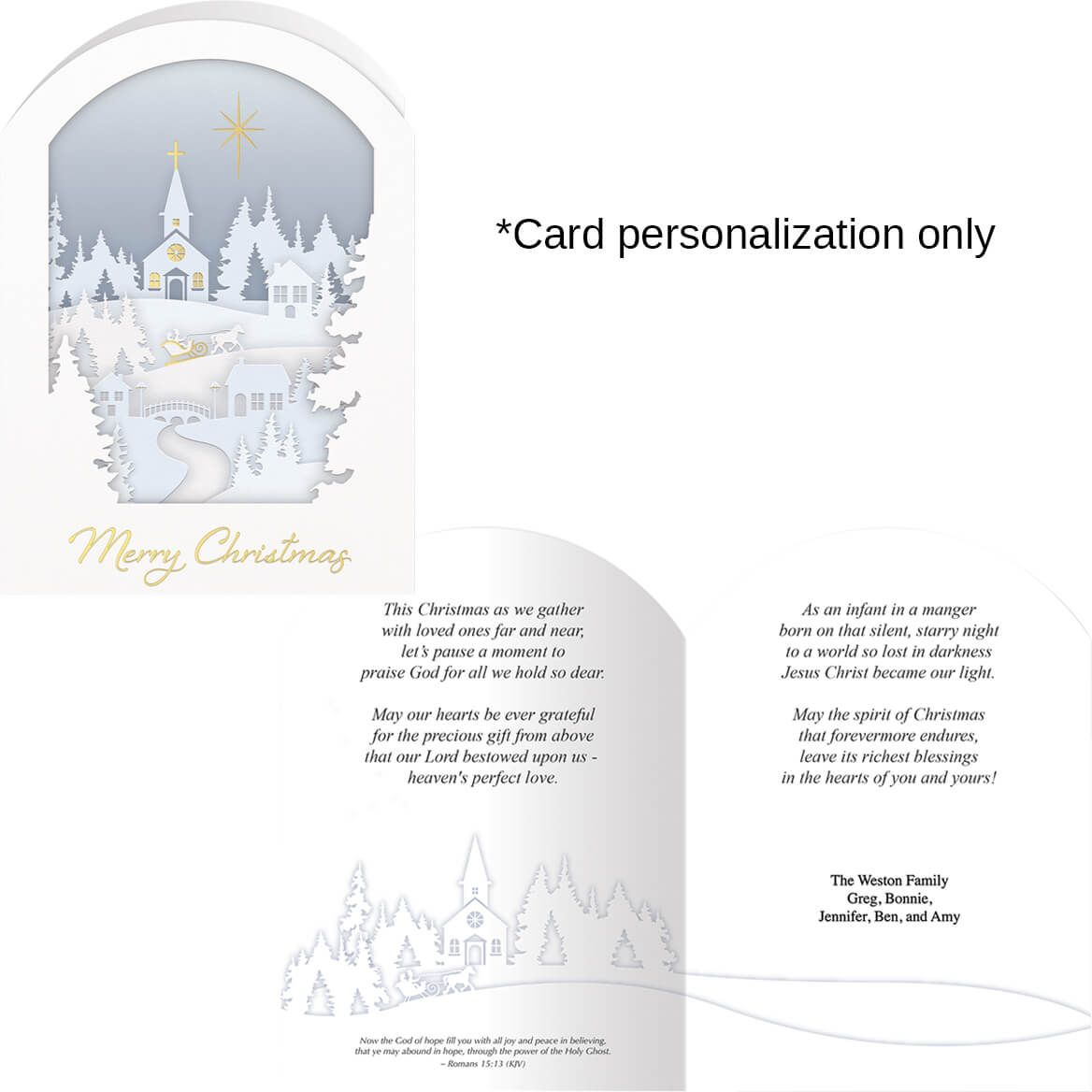 Personalized Papercut Collage Christmas Card Set of 20-368251