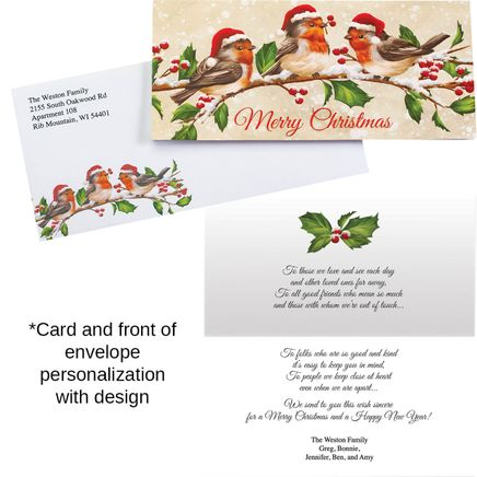 Personalized Birds with Hats Christmas Card Set of 20-368257