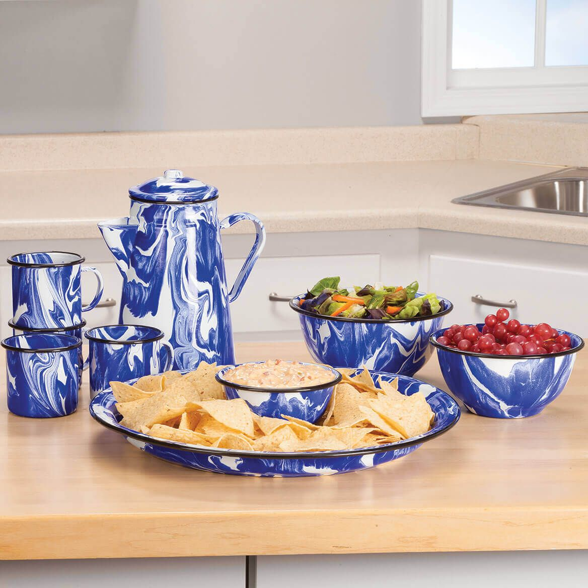Blue Marble Enamelware Set of 3 Bowls by Home Marketplace-368312