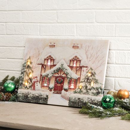 Cozy Cottage Lighted Canvas by Holiday Peak™-368334