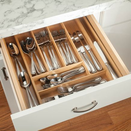 Bamboo Expandable Cutlery Drawer Organizer by HMP-368380