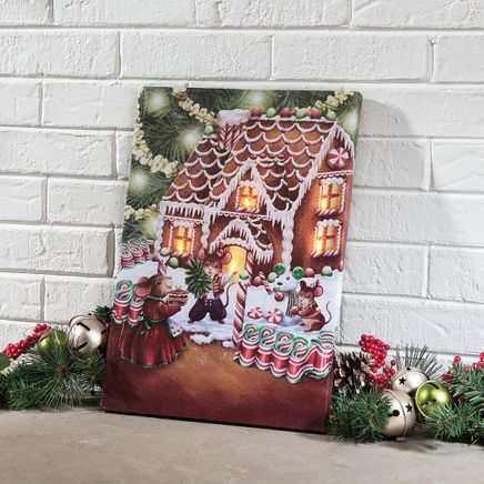 Gingerbread Mouse Lighted Canvas by Holiday Peak™-368411