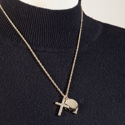 Personalized Pavé Crystal Cross Necklace-368489