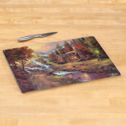 Thomas Kinkade Cabin Scene Glass Cutting Board-368688