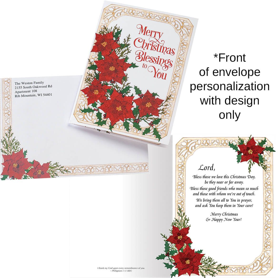 Poinsettia Collage Christmas Card Set of 20-370187