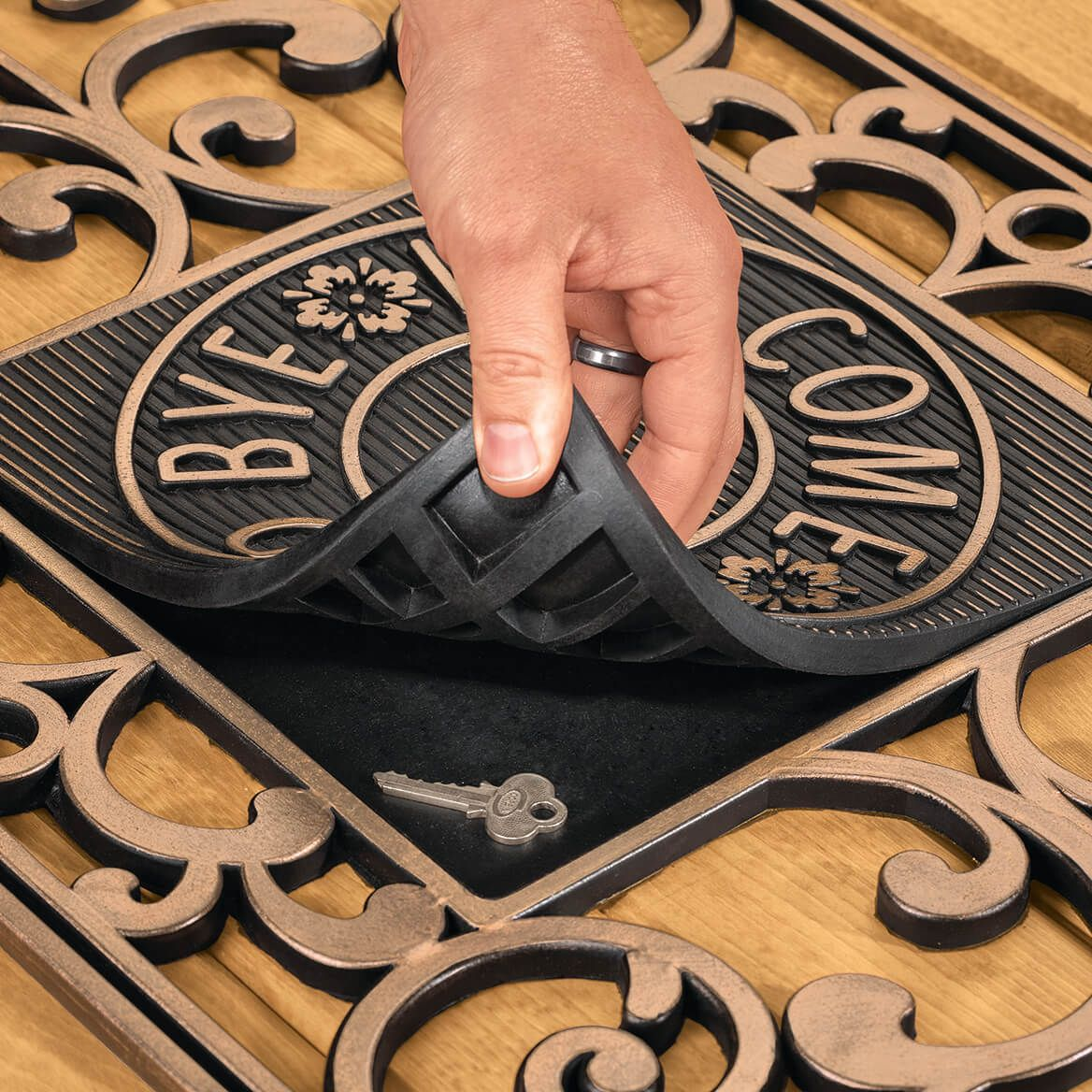 Hide A Key Doormat with Welcome Insert-370530