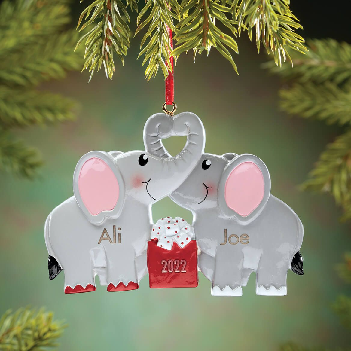 Personalized Kissing Elephants Ornament-370638