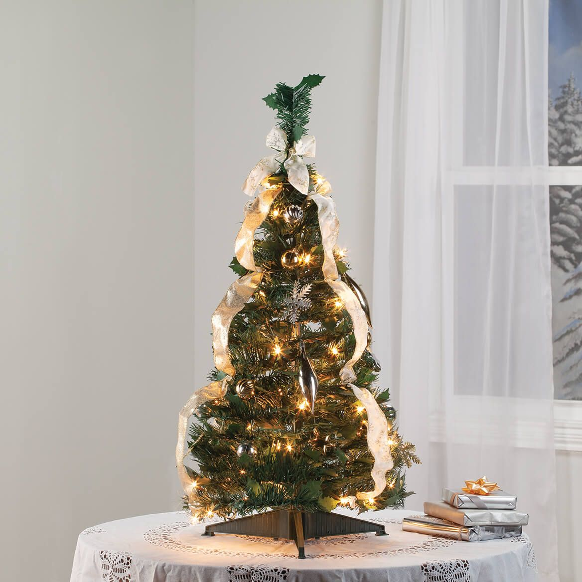 3' Silver & Gold Pull-Up Tree by Holiday Peak™-370712