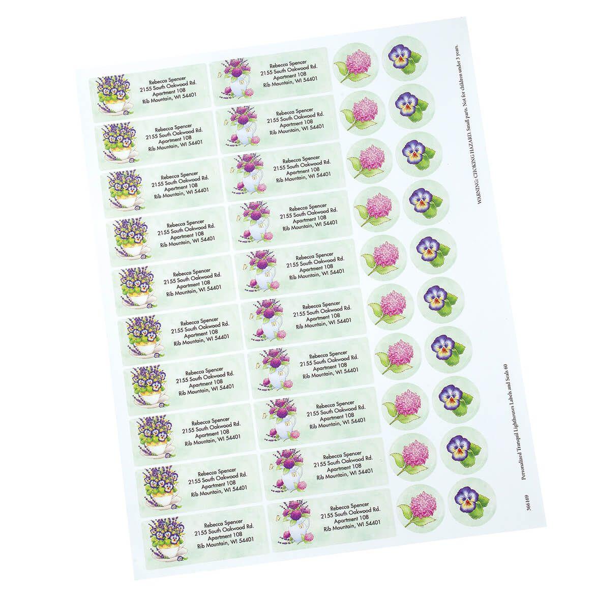 Personalized Lavender Floral Label and Envelope Seals set of 20-370831