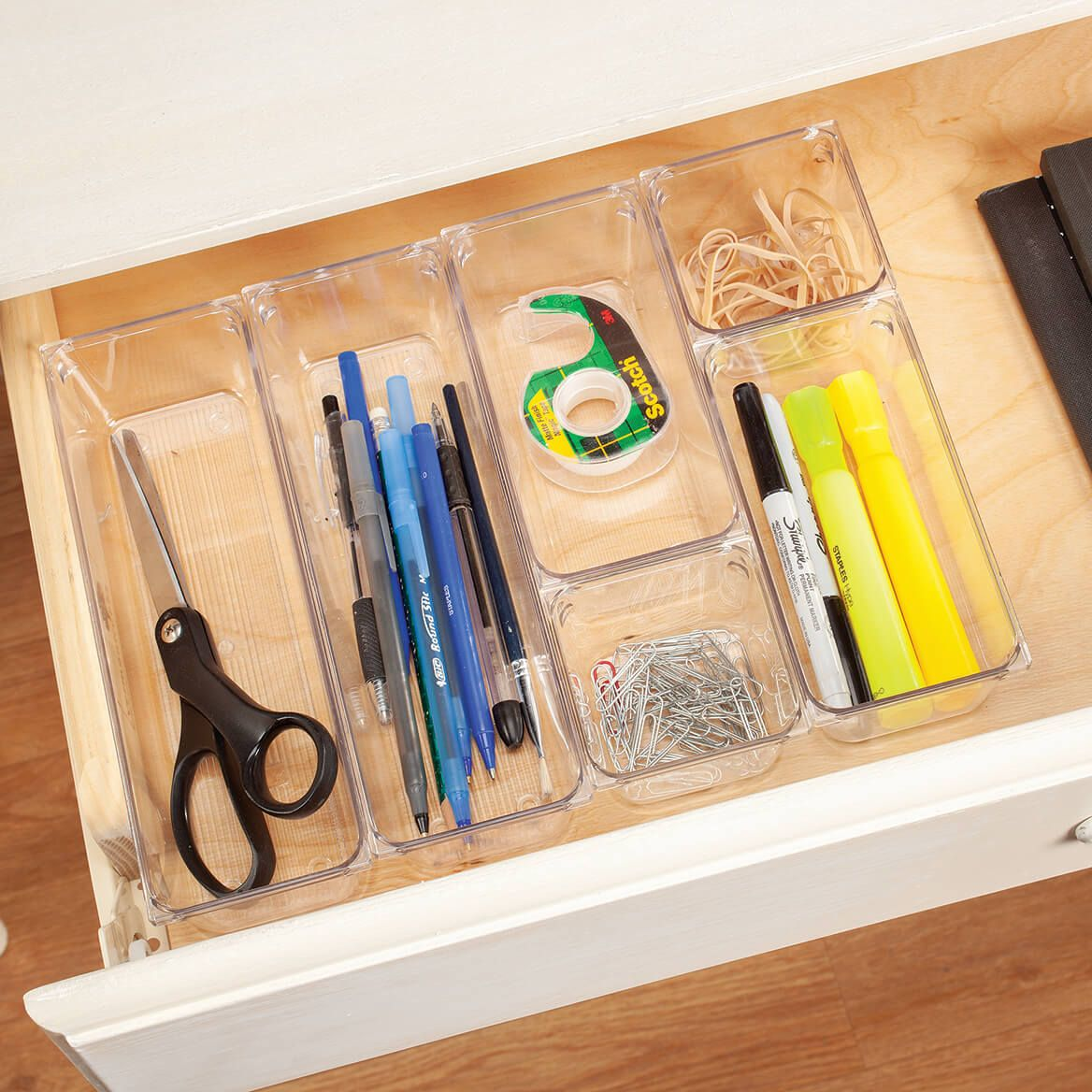Clear Plastic Vanity and Desk Drawer Organizers, Set of 6-371218