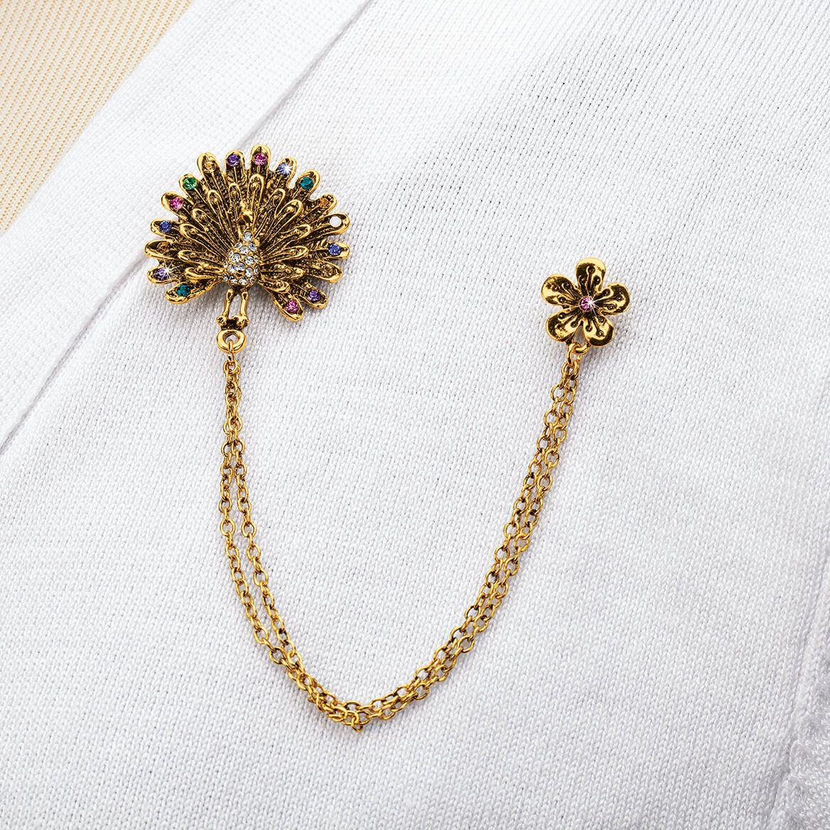 Peacock Dual Chain Brooch-371348