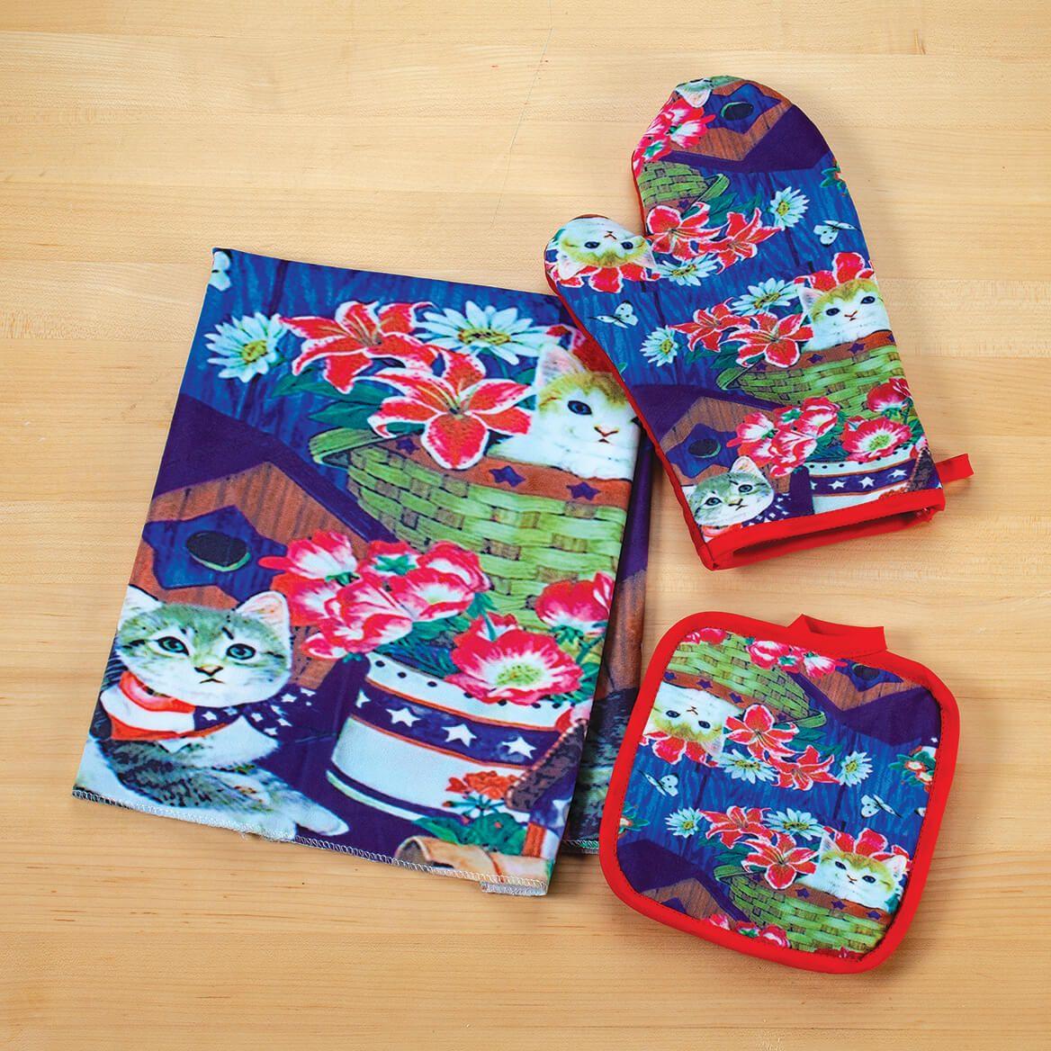 Kitten Patriotic Towel, Oven Mitt & Pot Holder Set-371629
