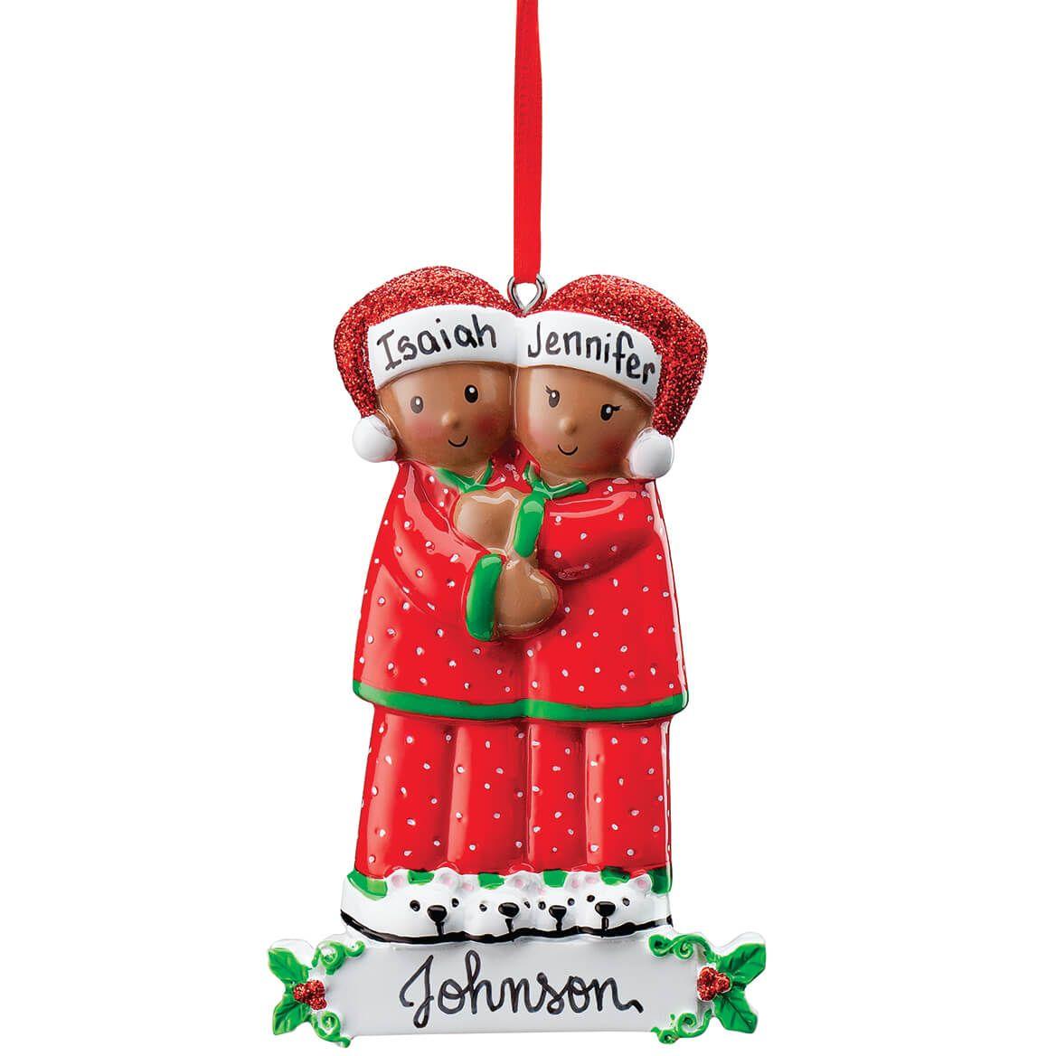 Personalized Darker Skintone Family in Pajamas Ornament-371677