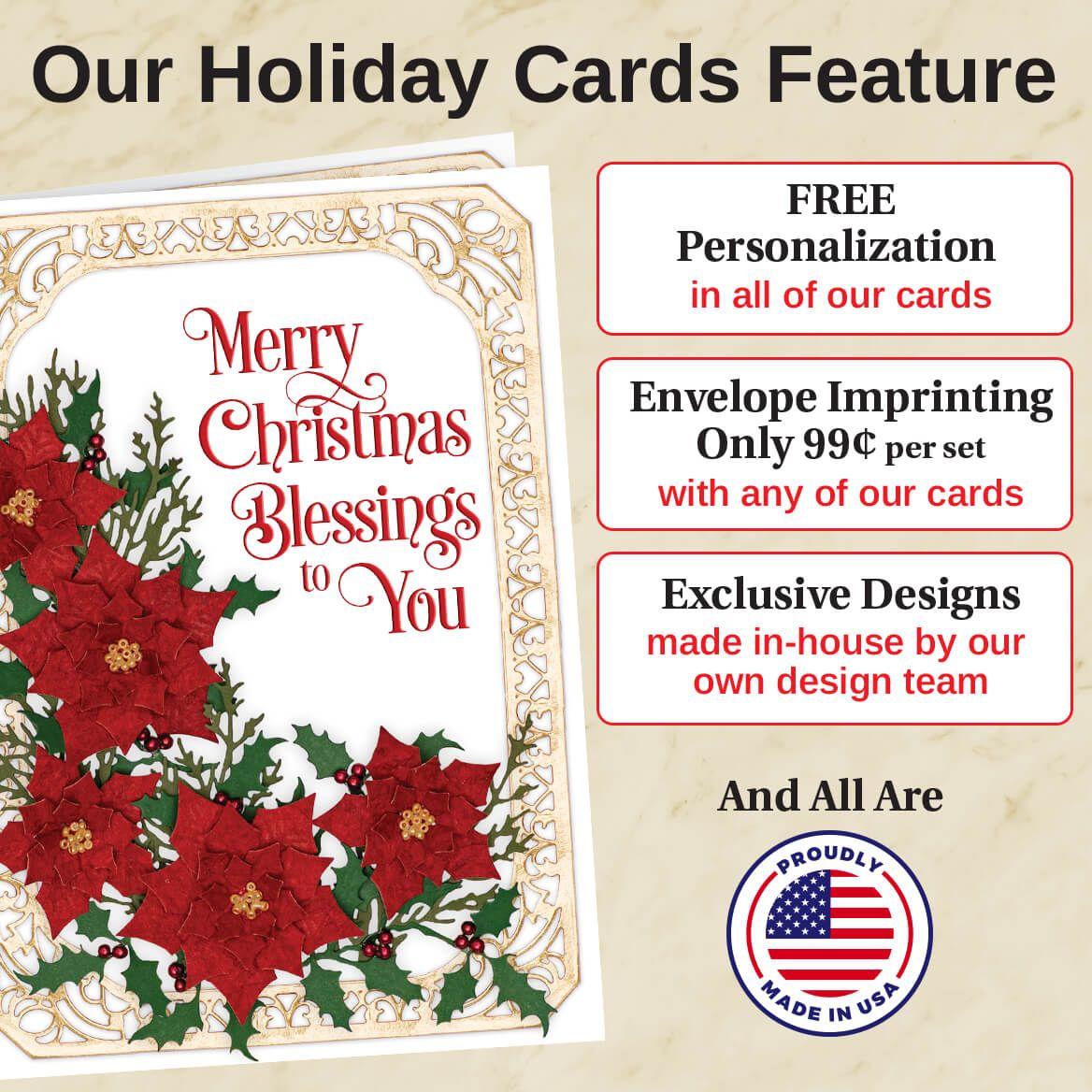Seasons Stained Glass Calendar Christmas Card Set of 20-371901