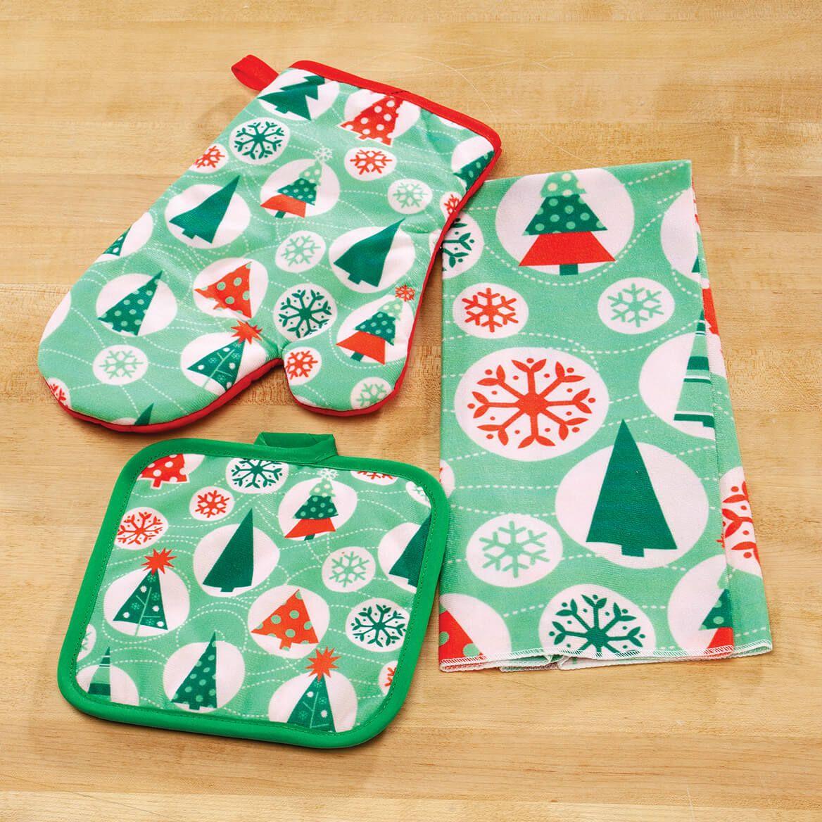 Retro Christmas Kitchen Towel, Oven Mitt and Potholder Set-372217