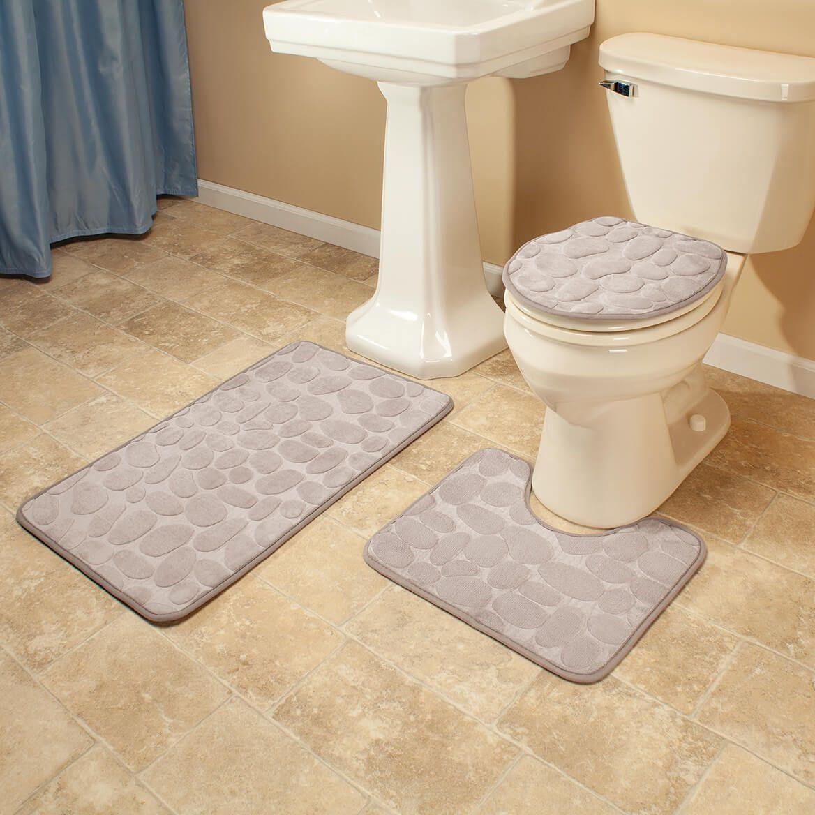 Pebble Embossed Memory Foam Bathroom Mat, Set of 3-372266