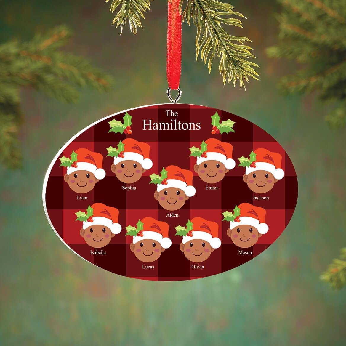 Personalized Medium Skintone Santa Hat Family Ornament-372371