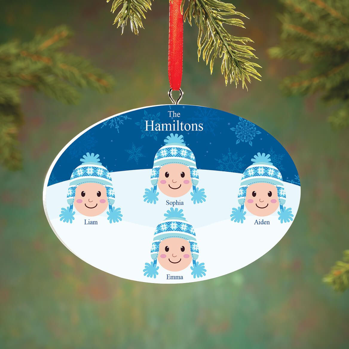 Personalized Light Skintone Winter Hat Family Ornament-372380
