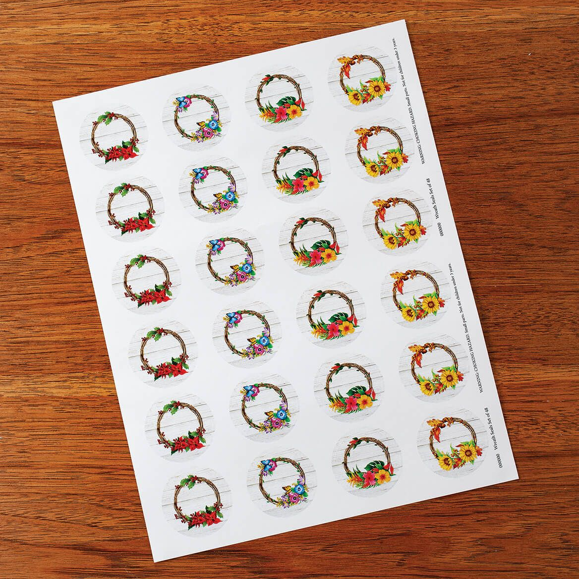 Floral Wreath Seals, Set of 48-372514