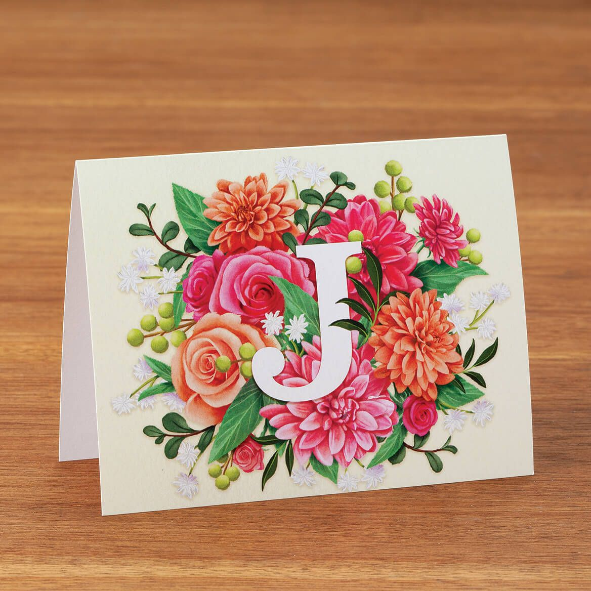 Personalized Floral Initial Notecards, Set of 20-372600