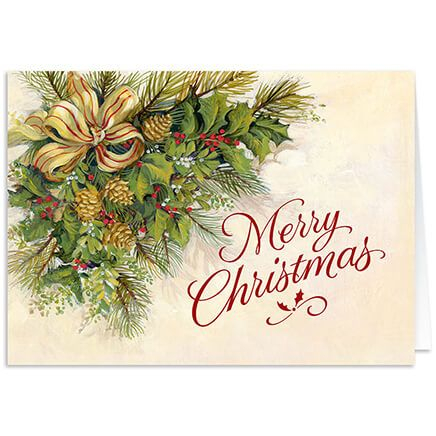 Personalized Christmas Greenery Christmas Card Set of 20-300247