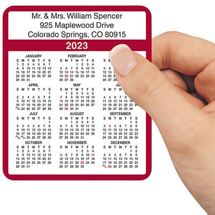 Personalized Burgundy Self-Stick Calendars, Set of 100-305554