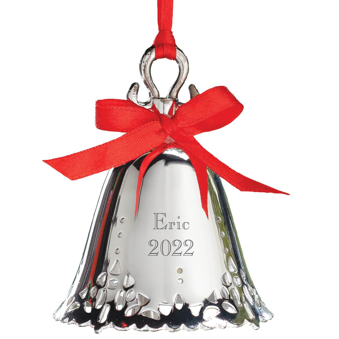 """8 Silver Sleigh Bells On 24"""" Red Strap December Home"""