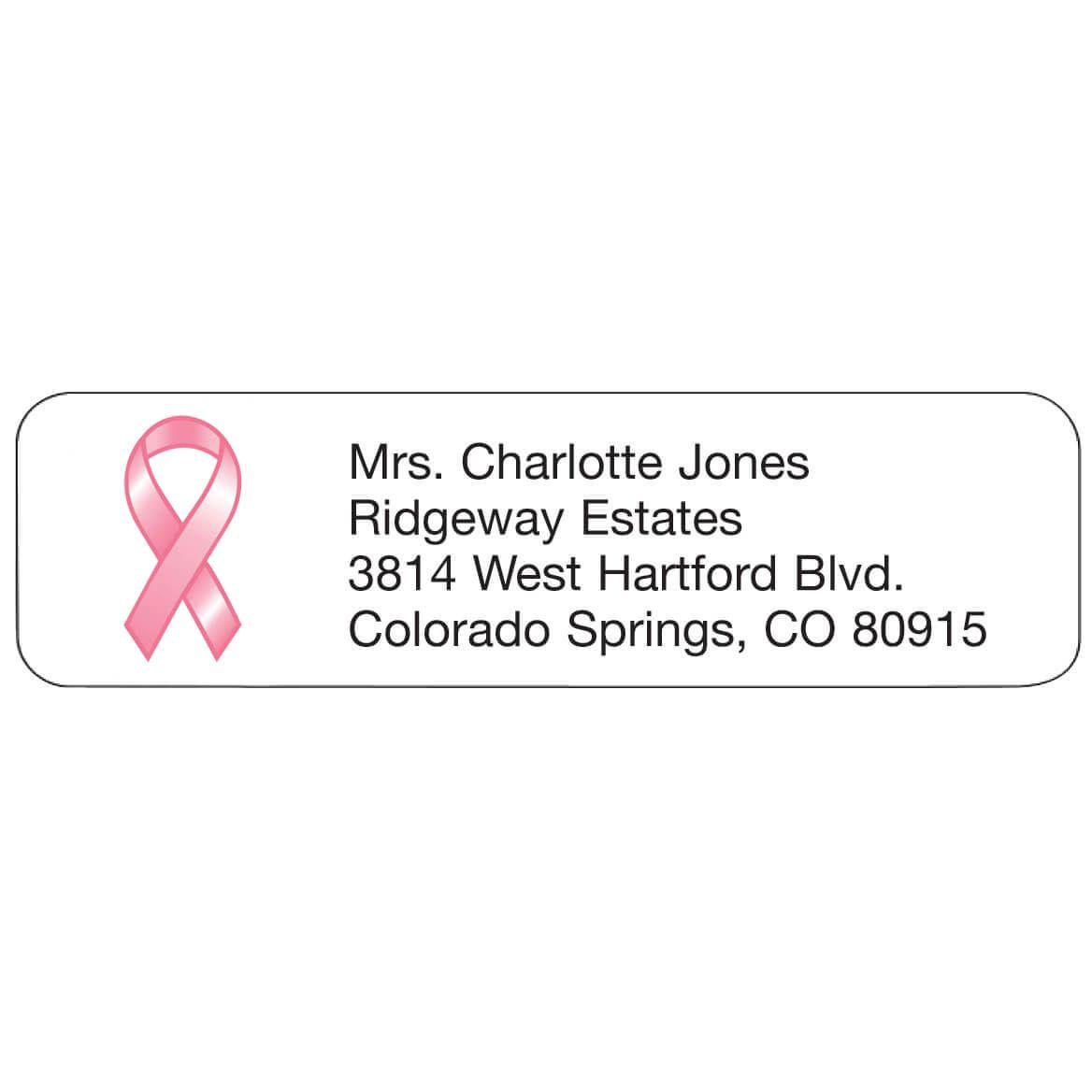 Pink Ribbon Personalized Address Labels-333180