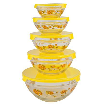Yellow Sunflowers Glass Bowls Set of 5-341584